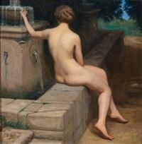 mujer desnuda frente a una fuente by gonzalo bilbao martínez