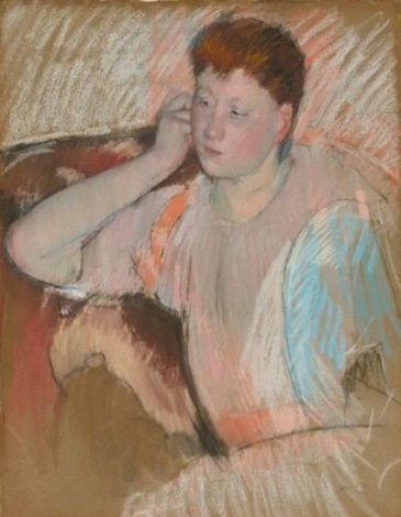 clarissa turned left with her hand to her ear by mary cassatt