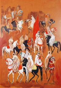 rassemblement berbère à cheval autour du cavalier au drapeau by hassan el glaoui