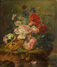 still life of mixed flowers and insects on a mossy bank by amalie kaercher