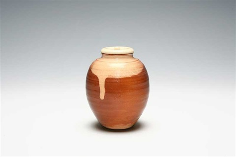 a hagi porcelain tea caddy by miwa kyuwa