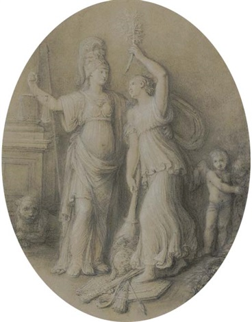 an allegory of peace setting fire to a military trophy, with an allegory of justice and a putto by andrea appiani