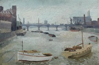 the thames at blackwater, battersea reach by joan warburton