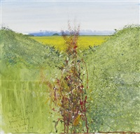 dock, buttercup field, green lane, sunshine by kurt jackson rwa