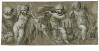 study for a frieze with putti, a deer, and other animals by paolo farinati