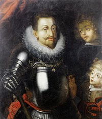 portrait of a nobleman (emperor rudolph ii?)in armour, wearing the order of the golden fleece by hans von aachen