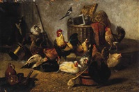 a farmyard gathering by bernard de gempt