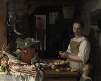 a kitchen interior with a maid and a child peeling apples by jeremias van winghe