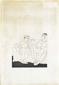 two men on a sofa by david hockney