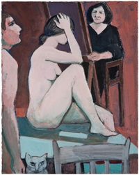 beth at easel with models & cat by william theophilus brown