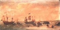 dutch merchant flutes and numerous other vessels off a coastline by pieter cornelius verbeeck