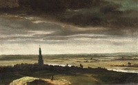 a river landscape with a view of a dutch town by johannes ruyscher