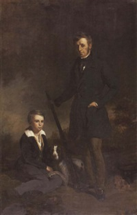 portrait of george patrick skene of pitlour and his son with guns and dog by colvin smith