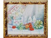 nature morte au vase de fleurs et aux tomates by paule gobillard