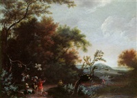 peasants returning from market in a wooded landscape by jan snellinck iii