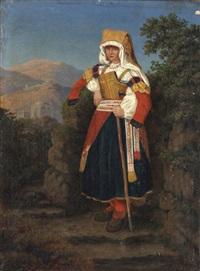 eine donna im national-costum von cervara im sabinergebirge by jacob jacobson