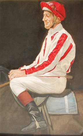 portrait of jockey harry white by bryan westwood