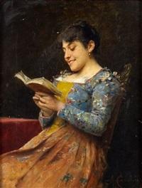 portrait de femme à la lecture by adriano cecchi