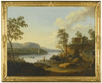 a river landscape with farm workers and animals below a farm, a distant town beyond by johann (jan) christian vollerdt