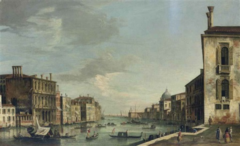 the grand canal venice looking east from the campo san vio with the dome of santa maria della salute and the punta della dogana by master of the langmatt foundation views