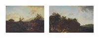 landschaft mit wasserfall (+ landschaft; 2 works) by johann-heinrich wüst