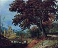 paysage au chemin boise avec un pont de bois et des ruines by alexander keirincx