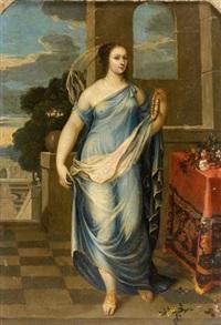 portrait d'une femme de qualité en flore, dans le vestibule d'un palais, dite julie d'angennes, duchesse de montausier (1607-1671) by french school (17)