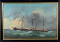 bateau ville de bahia - départ du 7 février 1890 by victor charles edouard adam