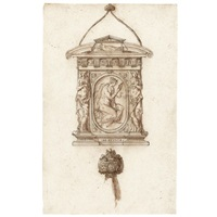 design for a mirror with an allegorical figure of prudence, and a separate study of a handle by jacopo strada