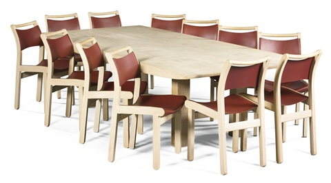 A Limed Burr Oak Dining Table And Twelve Dining Chairs En Suite By John  Makepeace
