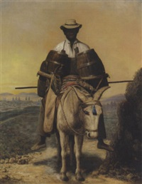 a watercarrier on a mule, with a view of lima from the alameda by raymond auguste quinsac monvoisin