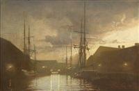 evening scene from frederiksholms canal in copenhagen by harry kluge