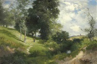sunny hillside, east hampton by thomas moran