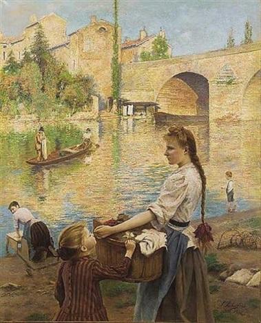 les lavandières à pont sur yvonne by andré chabellard