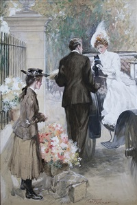 woman in carriage receives gift of a kitten by charles m. relyea