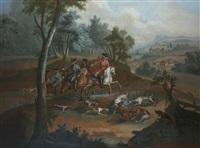 scène de chasse à courre au renard : l'hallali by michel barthelemy olivier