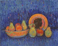 still life with fruits and plate by georges akopian