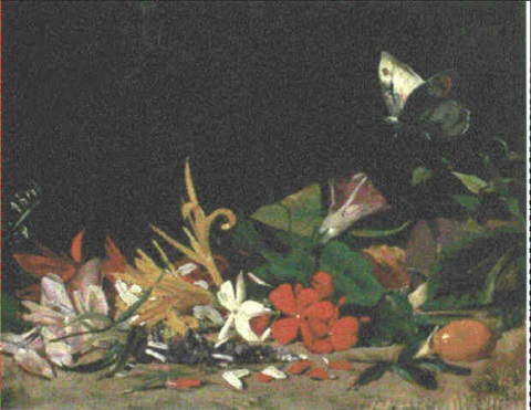 convovulus lily and other flowers with a butterfly by salvador abril y blasco