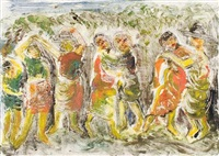 seven people dancing by israel isaac lipschitz