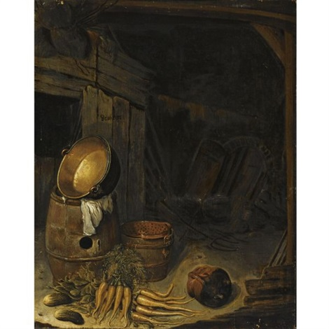 barn interior with a still life of carrots gherkins a barrel and a copper pot with an earthenware bowl and a strainer by barent cornelisz