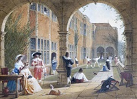 fencing, haddon hall by joseph nash