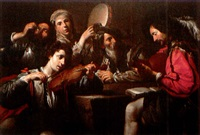 concert with four players and a drinking soldier by jean valentin (de boulogne)