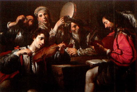 concert with four players and a drinking soldier by jean valentin de boulogne