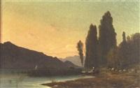personnage embarquant sur un lac de montagne by horace-antoine fonville