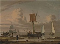 dutch shipping by a shore with figures unloading a wagon by jacob esselens