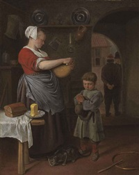 a kitchen interior with a little boy saying grace by jan steen