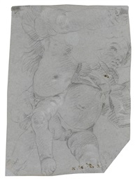 studies of two flying putti, with a study of a putto's right leg above by giovanni battista tiepolo