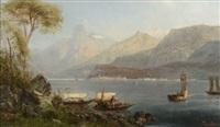 bord de lac en italie by pierre (henri théodore) tetar van elven
