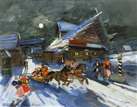 sledding at night by konstantin alexeievitch korovin