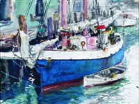 sailboat and dinghy by john whorf